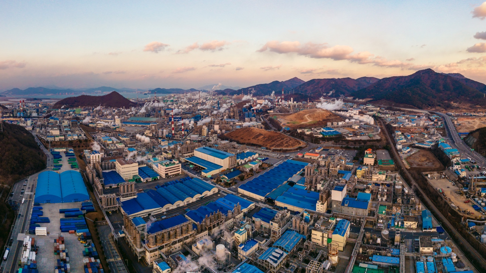 Aerial view of the Yeosu industrial complex taken December 2017. Korea has come a long way in the past sixty years. (Shutterstock)