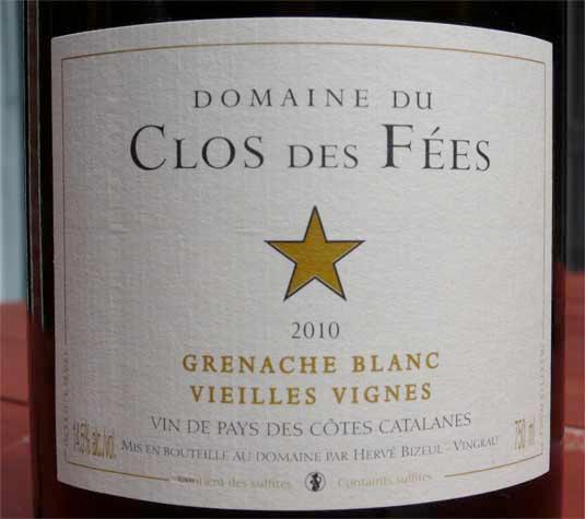 Domaine du Clos des Fées, Grenache Blanc Vieilles Vignes 2010
