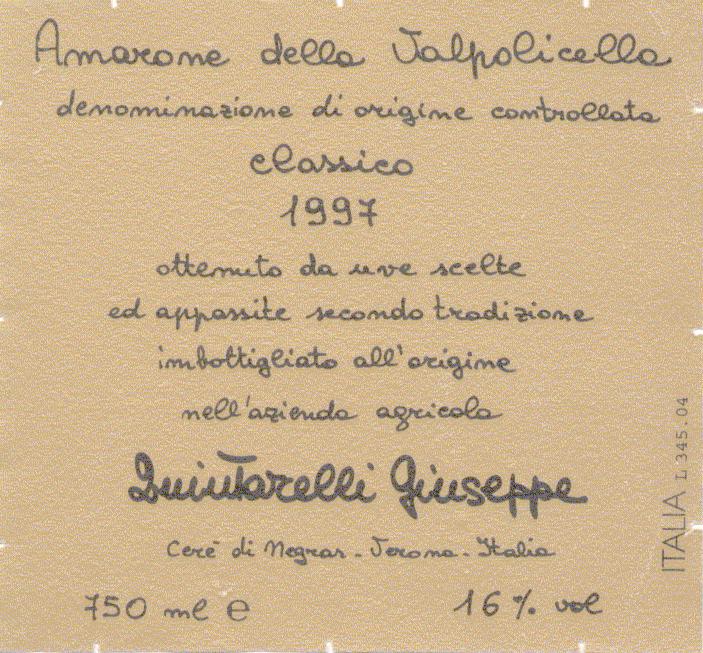 A label from Giuseppe Quintarelli's Amarone Della Valpolicella 1997