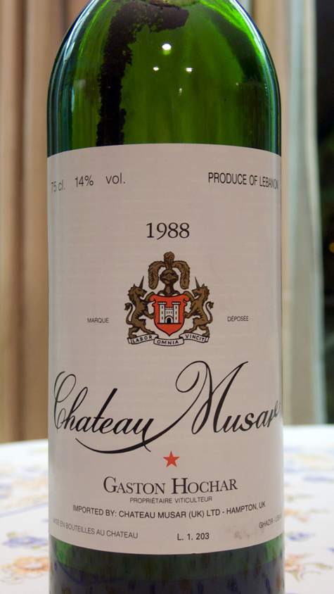Château Musar 1988 (you can clearly see the heavy crusting inside the bottle)