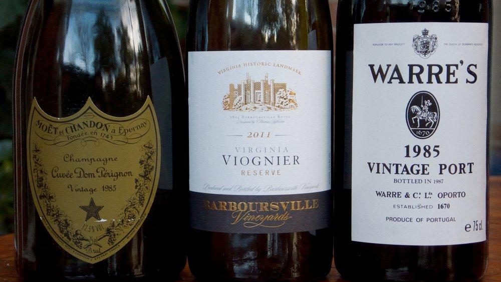 Dom Perignon 1985, Barboursville Reserve Viognier 2011, Warre's 1985 (left to right)