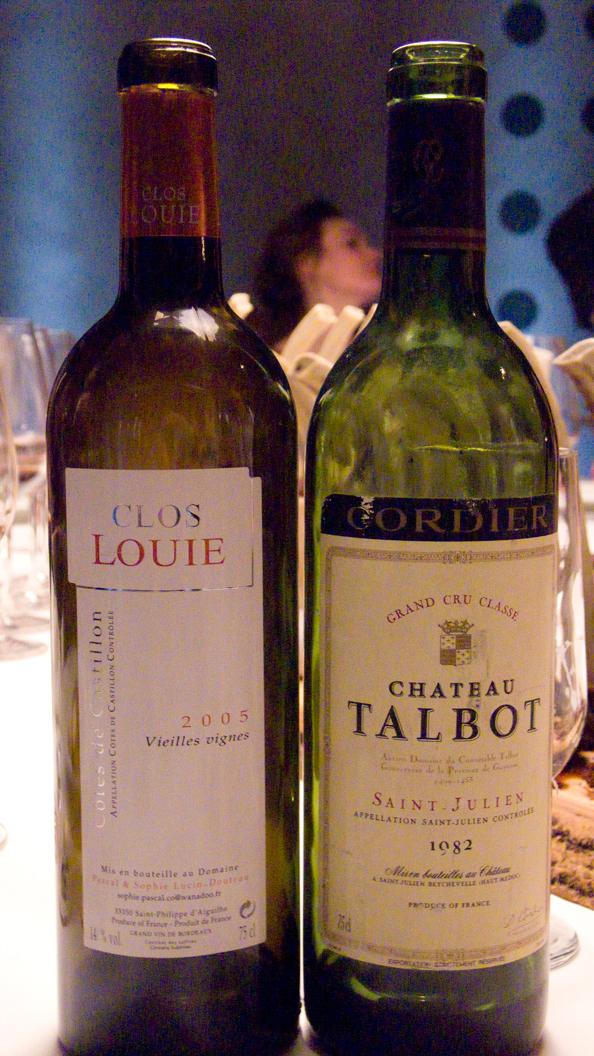 Clos Louie, Vieilles Vignes 2005 and Château Talbot, Saint-Julien 1982