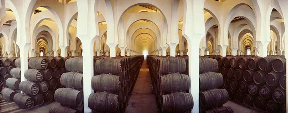 A cathedral-like Sherry bodega housing soleras - its huge space provides flor with the oxygen it needs to develop, it acts as an insulating chamber that regulates temperature and humidity, and its height is conducive to induced ventilation