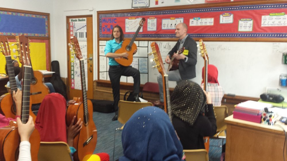 Teaching Artists - SLCG employs expert Teaching Artists who co-teach with Classroom Music Teachers. This provides valuable guitar knowledge and empowers Classroom Music Teachers to run the program on their own.
