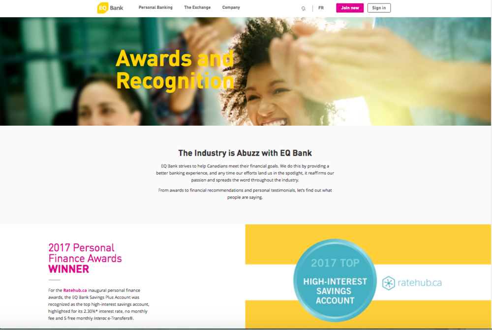 EQ Bank Awards Page (click for full copy)