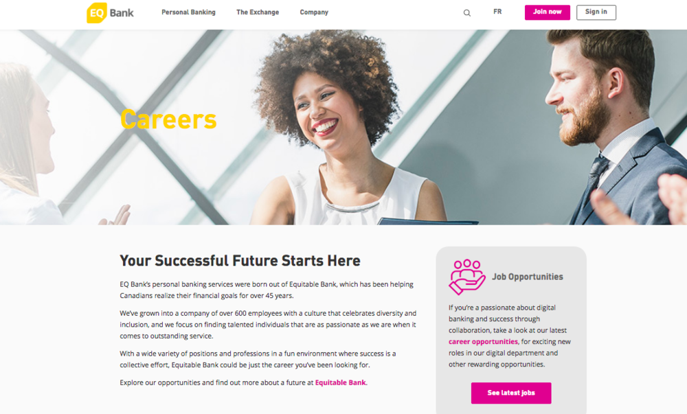 EQ Bank Careers Page (click for full copy)