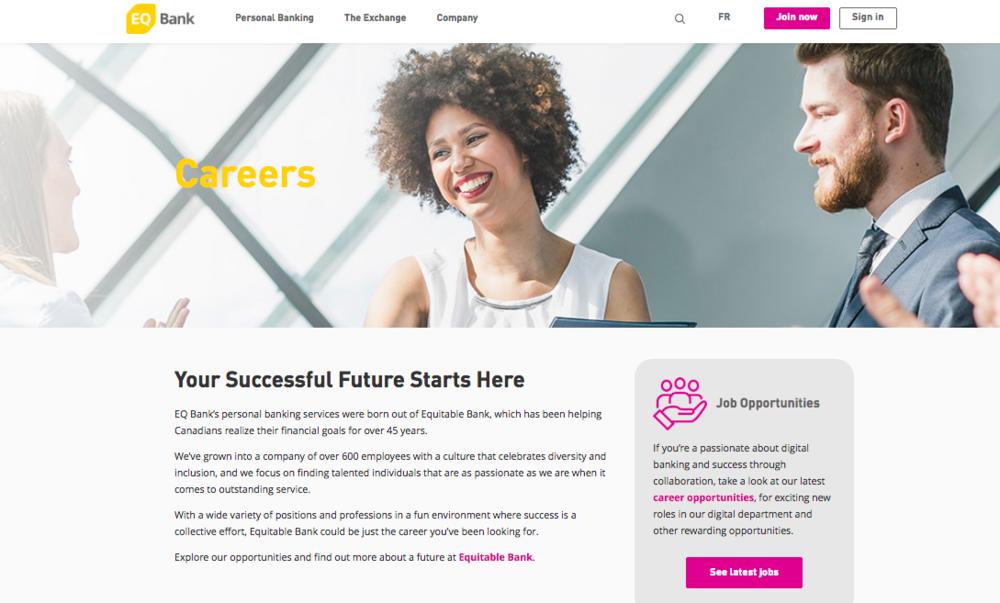 EQ Bank Careers Page web copy