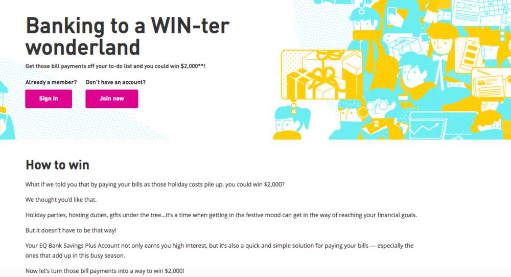 EQ Bank contest web copy