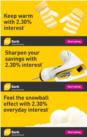 EQ Bank winter banner ads