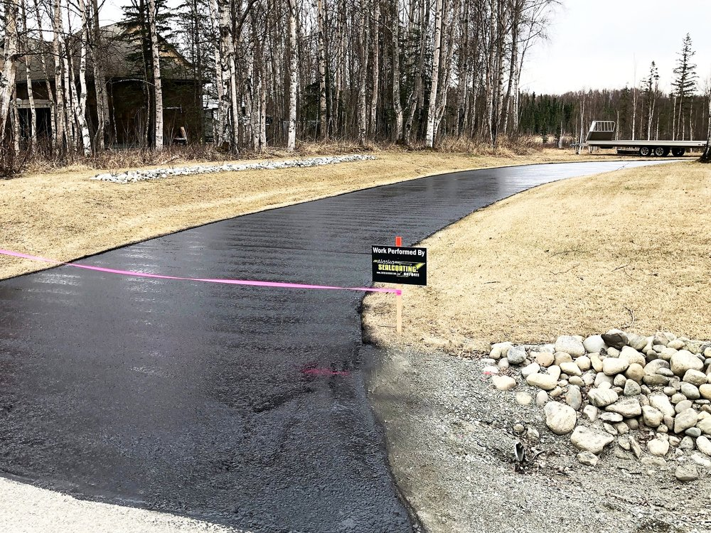 Call Us for a Free Quote - Before letting anyone else use any unapproved and potentially destructive black liquid on your driveway, call Alaska Sealcoating at 907-841-6411 for a free no-obligation estimate or do-it-yourself consult. Just call us first and we can show you why and how we use high-quality longer-lasting materials to get professional results.