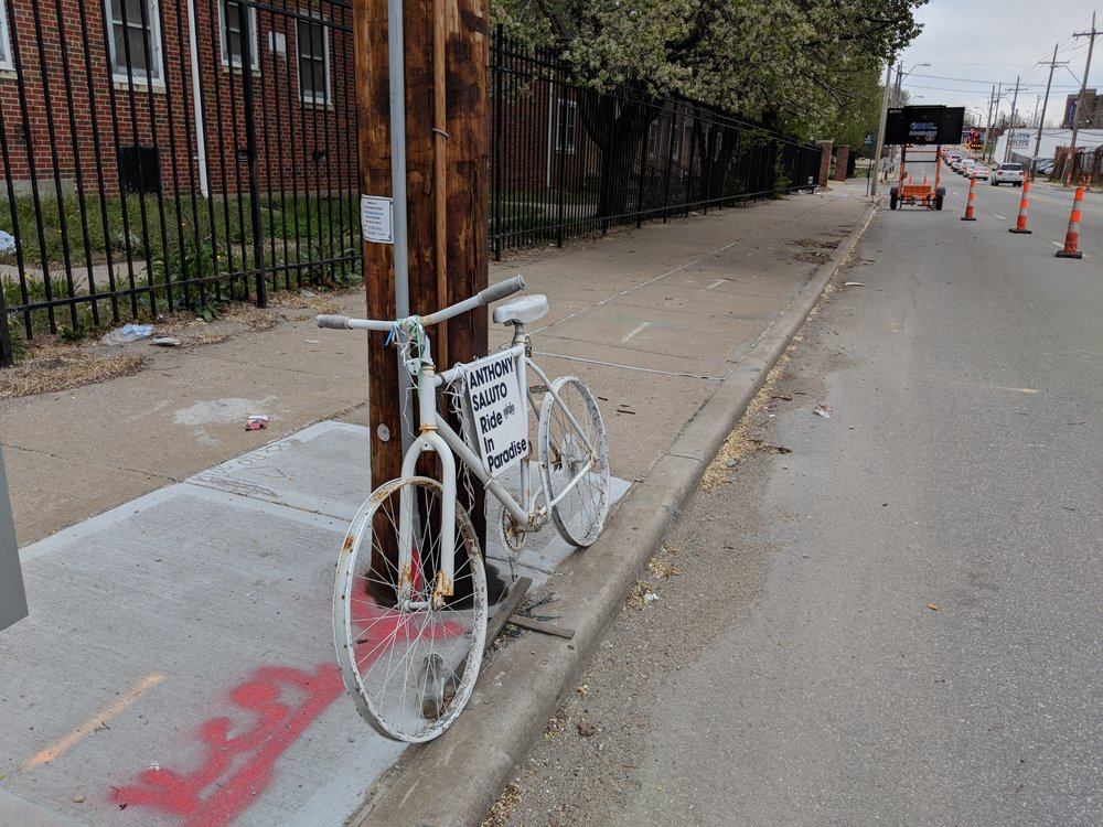 "Anthony's ""ghost bike"" marking the spot in Indie Ave near Lydia where his life was so senselessly lost."