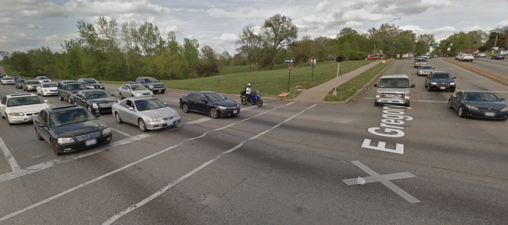 Bruce R. Watkins Dr. (US 71) and Gregory where Jyra Hill lost her life.