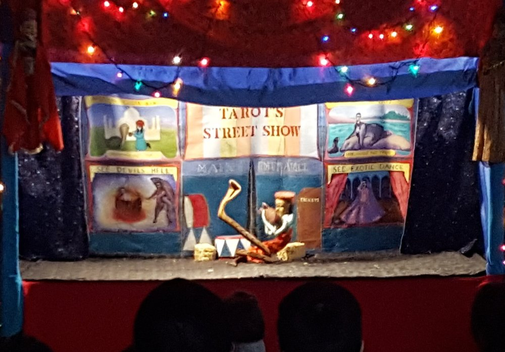 Leela Puppet Theatre presents Mr. Tarot's Street show, a puppet circus featuring snake charmers and lots more! January 2018.