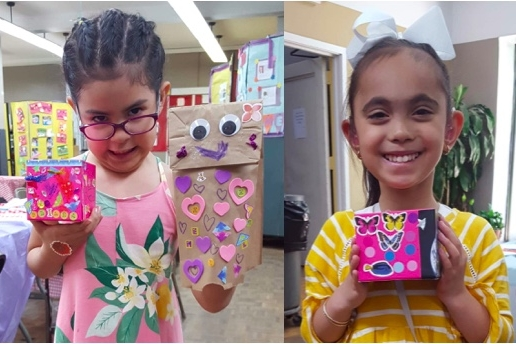 Lots of folks joined Firefly for our crafts party, where they decorated boxes and made Father's Day cards and collages and more! June 2018.