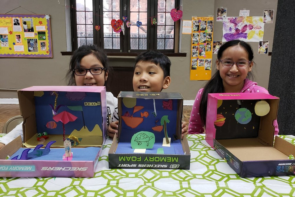 At our diorama party, kids made their own dioramas of land, sea, and space! February 2019.