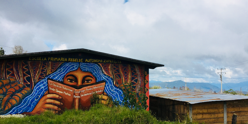 The primary school in the Zapatista Caracol Oventik. Oventik is one of 5 'Caracoles', which are Good Government Council bases for the Zapatista communities. Photo by Rachel Rowe.