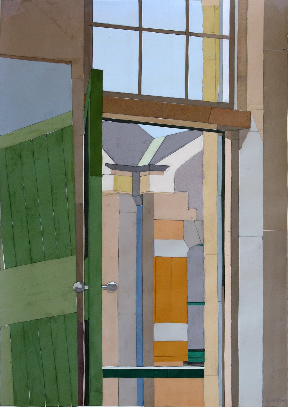 Looking Out #2, mixed media on paper, 69 x 50cm, 2008