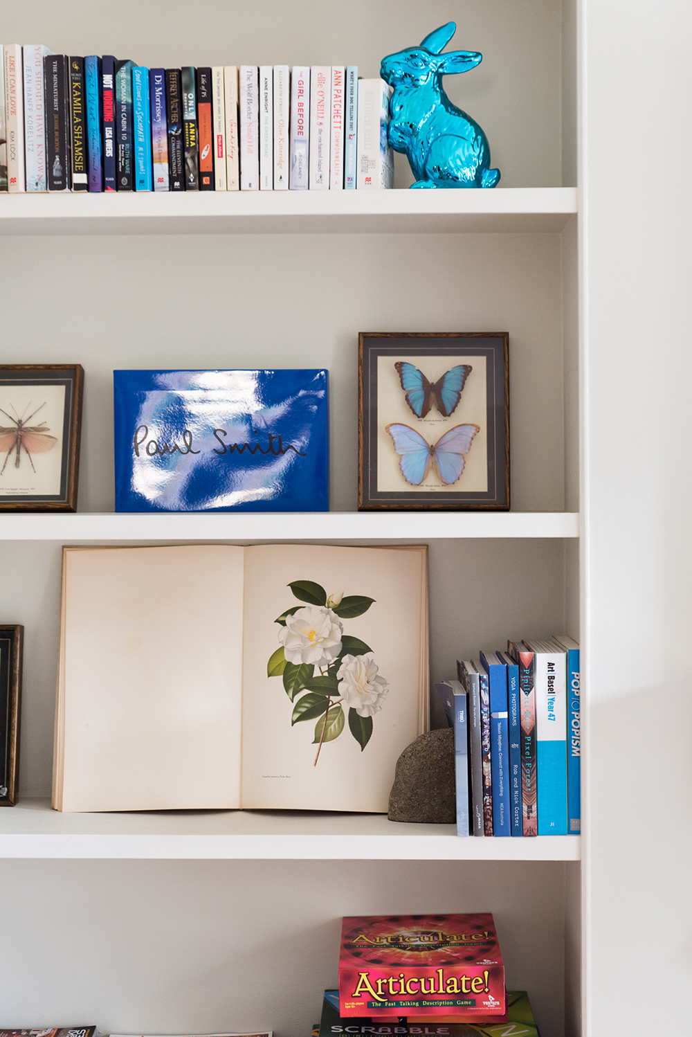 Interior styling details and library at Mona Farm