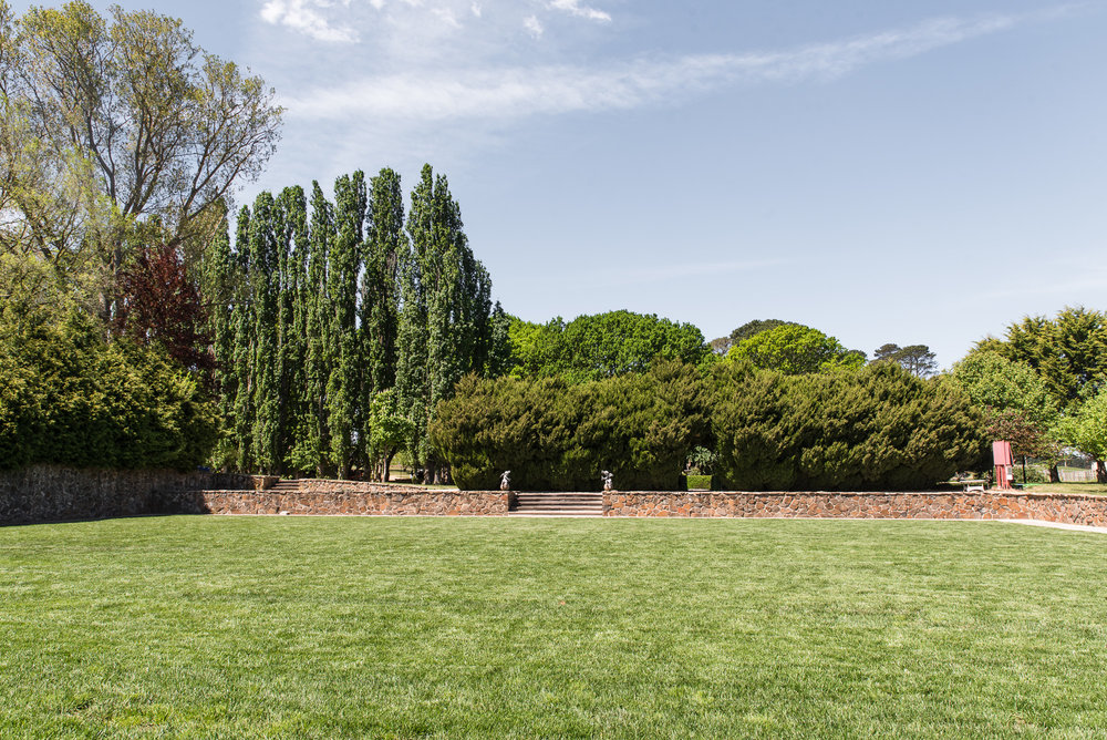 Croquet lawn and manicured gardens