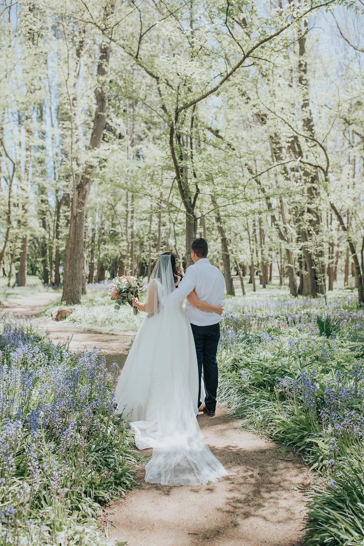 Couple in award winning gardens at Mona Farm Wedding