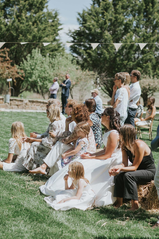 Family and friends at Mona Farm wedding gardens