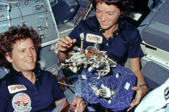 Kathryn D Sullivan (left) and Sally Ride (right) on STS-41G (NASA) 1978