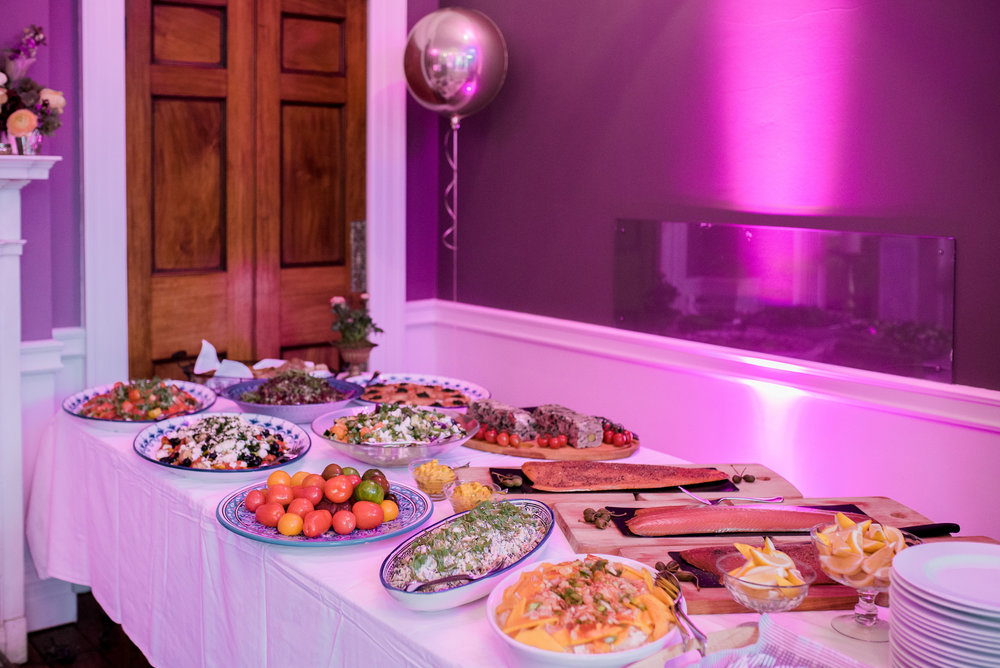Fabulous buffet spread lit by Oxygen Events