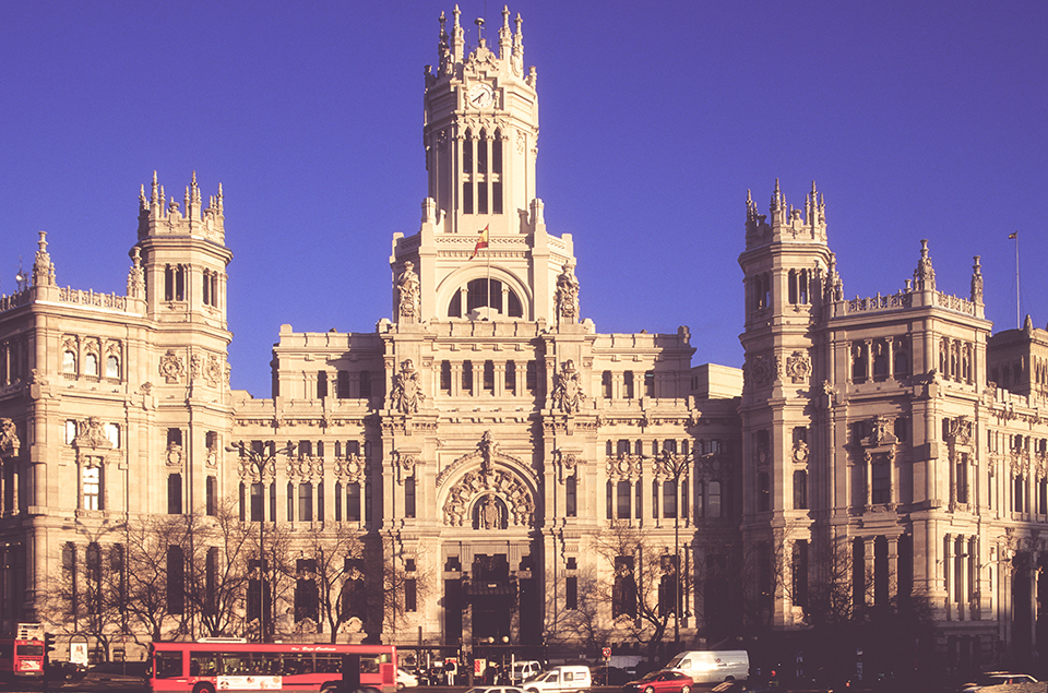 Magnificent Post Office (Palacio de Communicaciones) at the plaza de Cibeles.  Madrid. Spain. 2000_LP.jpg