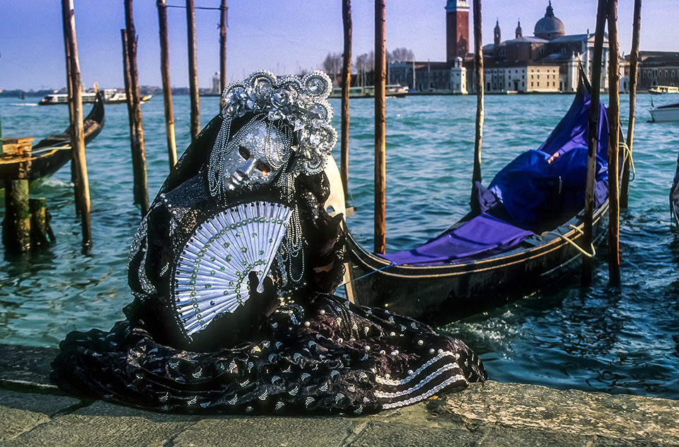 Portrait of GREY & BLACK venetian Carnivale costume  by gondola at Carnivale, Venice, Italy 1999 (LC).jpg
