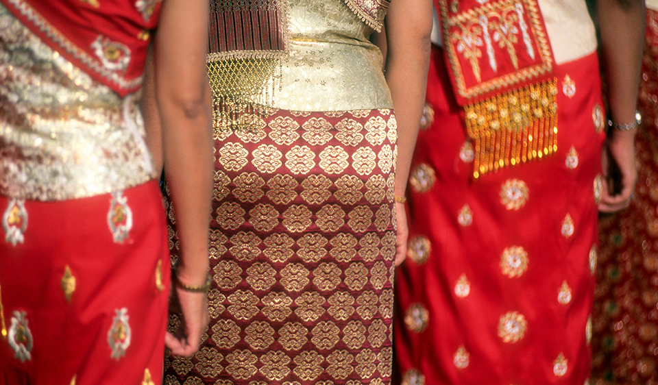 Detail of traditional female Thai skirts & dress, Thailand 2000 (on shoot with Tourism Concern) (LC).jpg