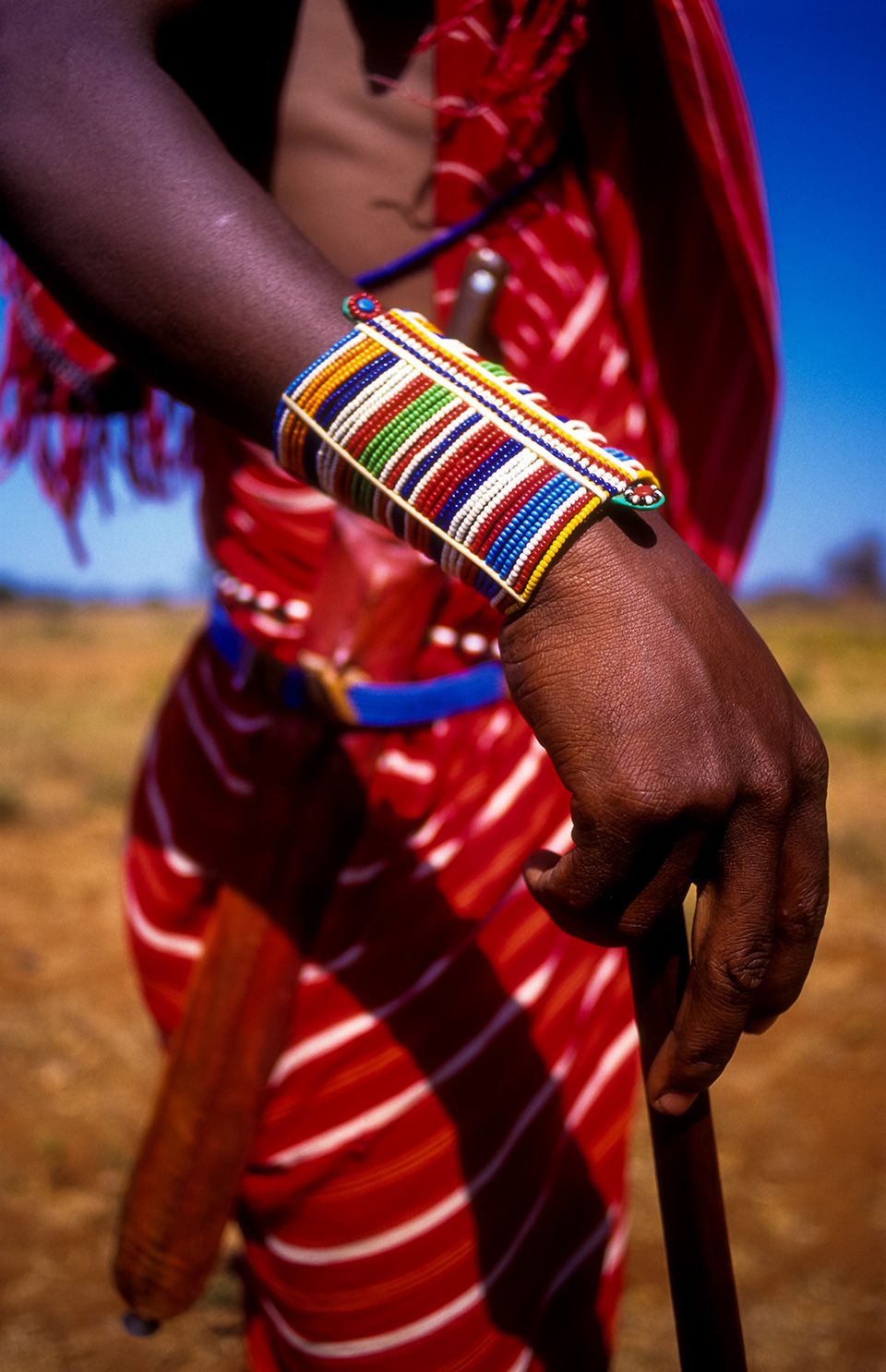 Detail of traditional male Masaai jewellery & armour V2 (wider shot) in Eselenkai Conservation Area, borders Amboselli NP, Kenya. Africa. 2000 (Levels checked).jpg