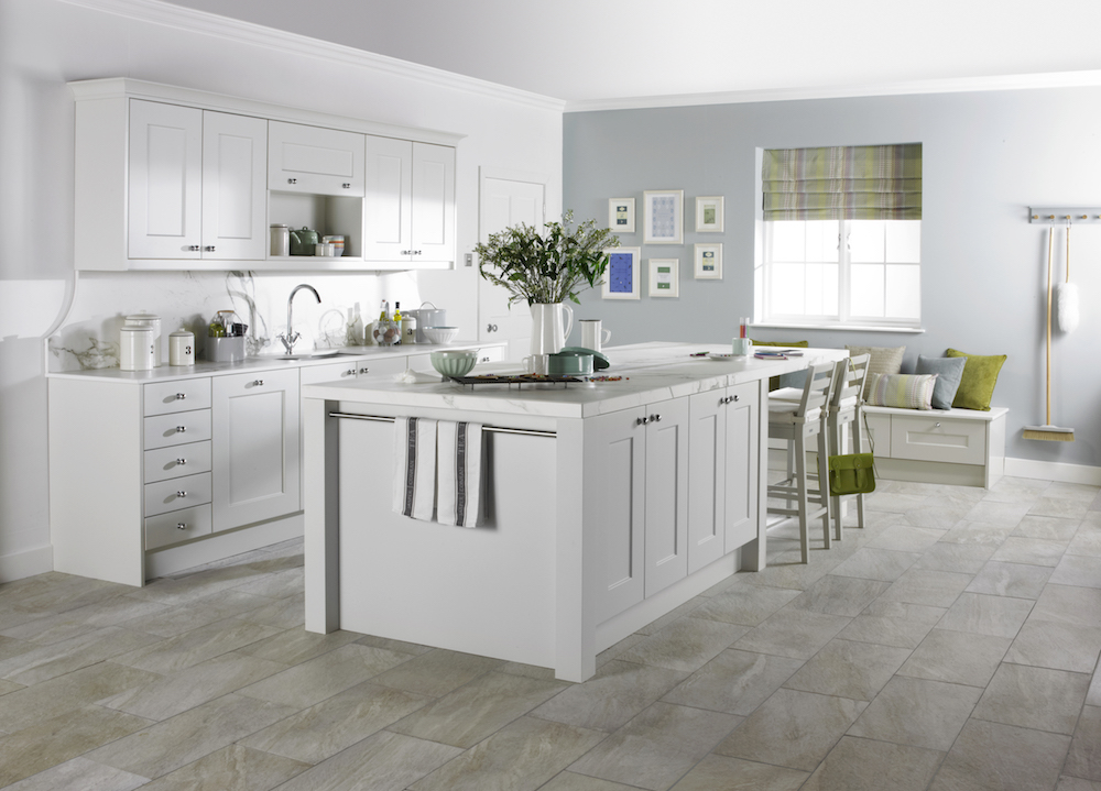 Lovely White and Green Modular Kitchen