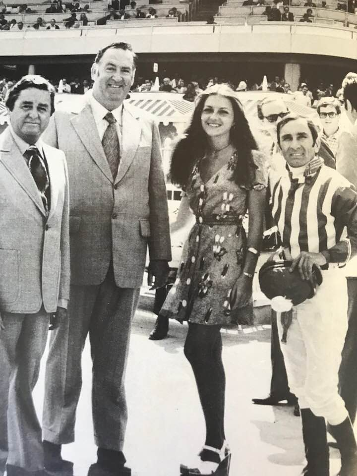 Image from 'The Bert Bryant Story' by Neill Phillipson. Published: 1978.   Bert Pictured with friends at Hollywood Park in the USA.
