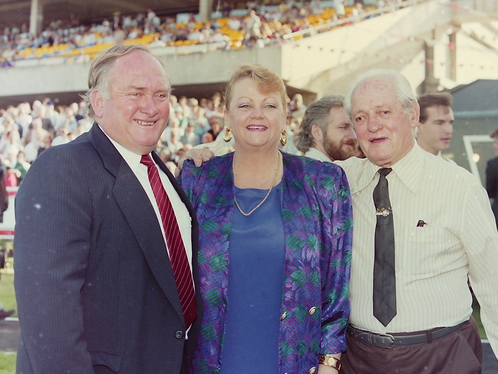Image Courtesy of Steve Hart Photographics - Clarry with wife Maree and Clarry Senior 1991