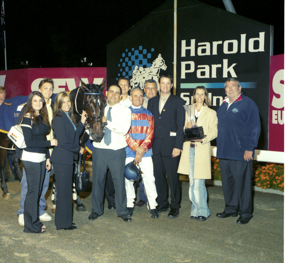 Image courtesy of Harness Racing NSW - Joe, Mary and Amanda at the presentation after Howard Ino's Simpson Sprint win