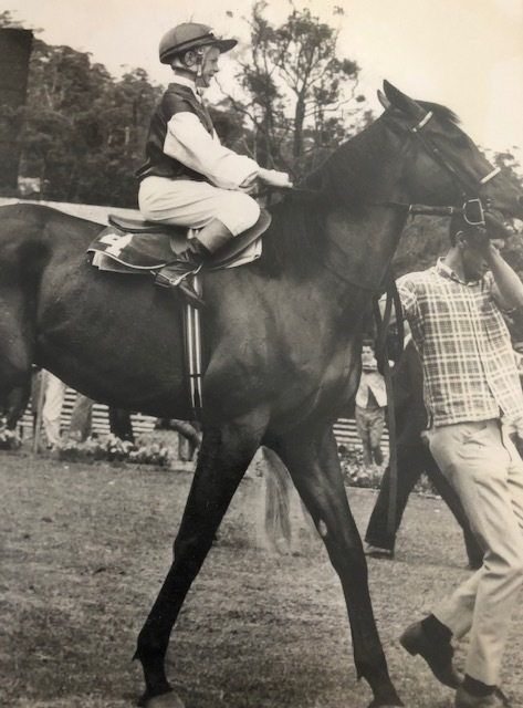 A tiny Bill Prain goes out for his first race ride on Tar Lad at Gosford. Beaten in a photo finish.