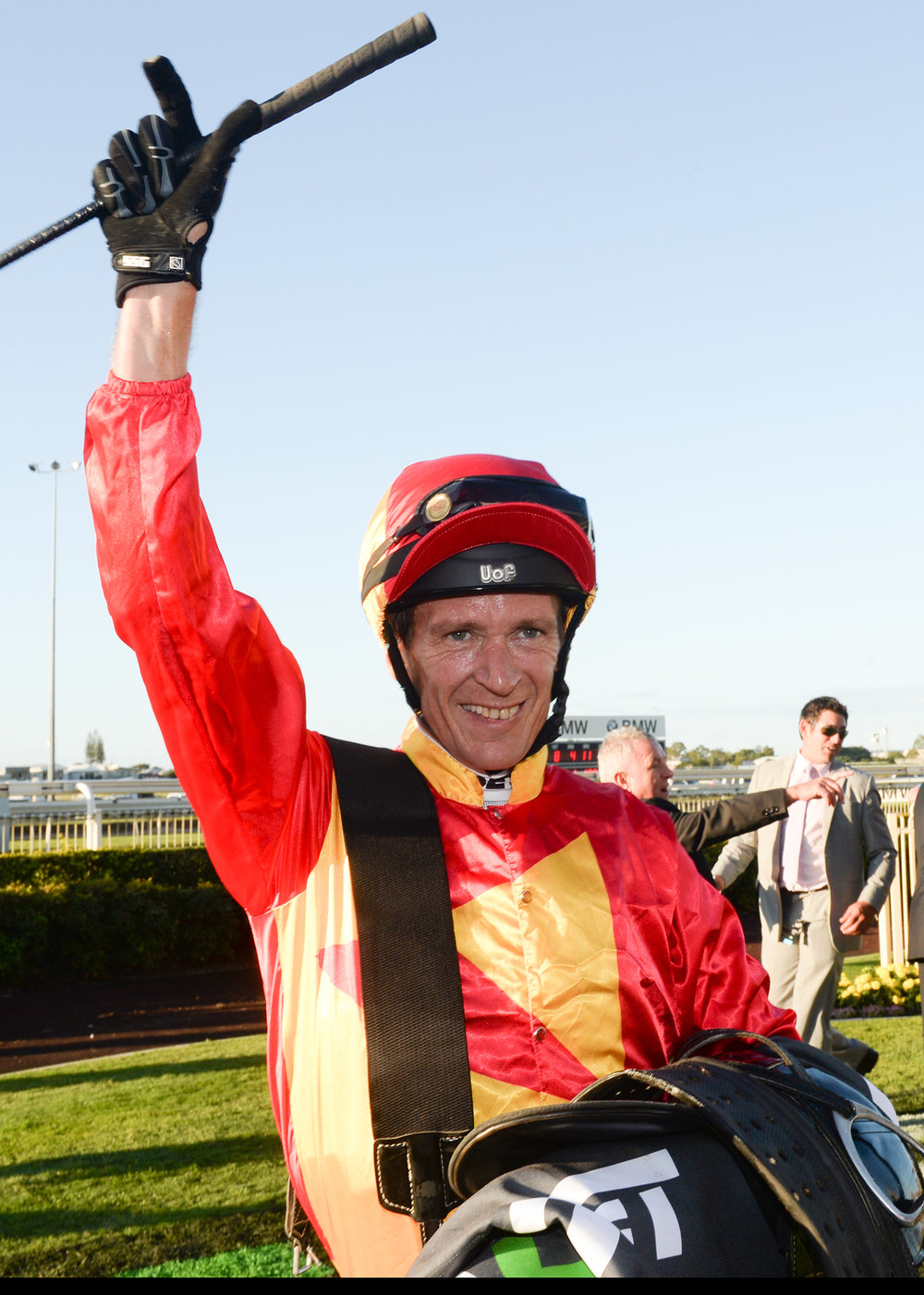 Image courtesy Trackside Photography - Glen Colless after winning the BTC Cup Group 1.