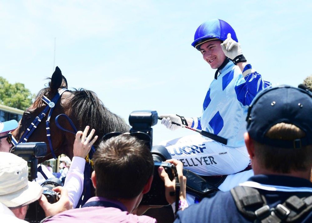 Image courtesy Trackside Photography - Michael Hellyer in the winners circle at the Gold Coast.