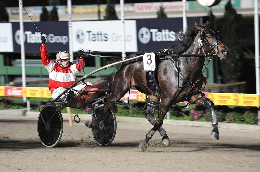Image courtesy National Trotguide - Villagem in full flight wins the VICBRED 3YO Final .