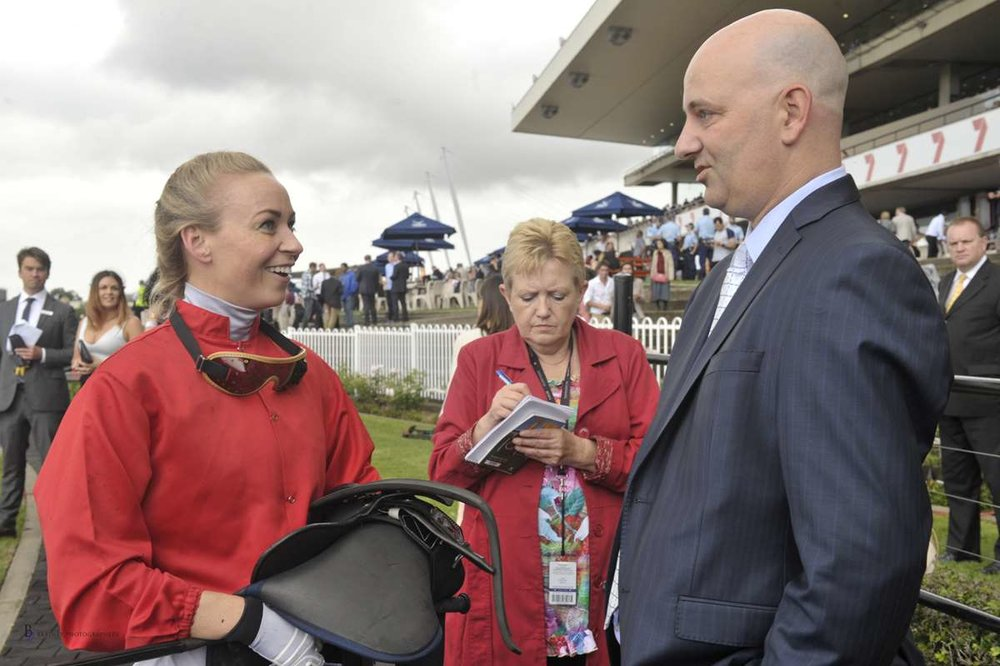 Image courtesy Bradley Photographers - John with Kathy O'Hara after a Rosehill win with Zanbagh.