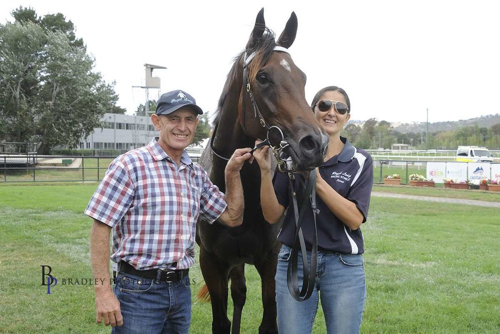Image courtesy Bradley Photos - Terry with younger sister Anna and Our Rosemaree after a Canberra win.