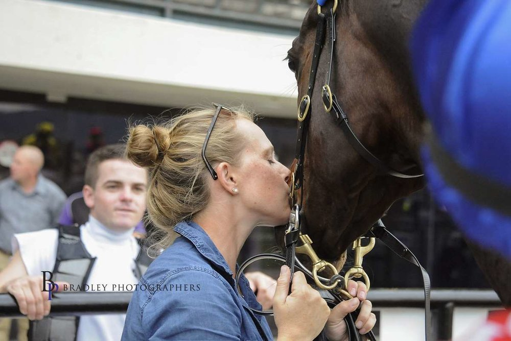 """Image courtesy Bradley Photographers - Tash in an unguarded moment with """"Wings"""" after a Canberra win 21/4/2017."""