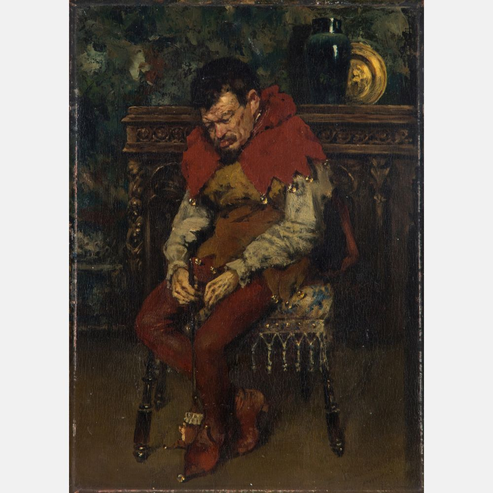 William Merritt Chase (1849-1916) Jester Resting on a Chair, Oil on Wood Panel