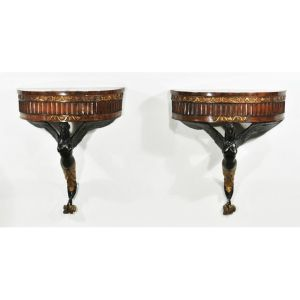 A Pair Of Italian Walnut Winged Mermaid Console Tables Sold $7,500