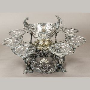 A George II Sterling Silver & Silverplate Eight Arm Basket Epergne, Thomas Gilpin, London, ca. 1757-58 Sold $30,000