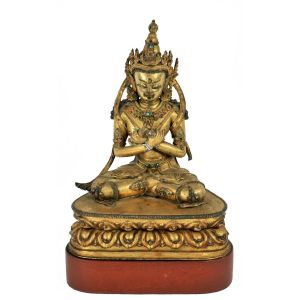 A Gilt Bronze Figure of Vajradhara, Tibet, 17th Century, Sold $60,000