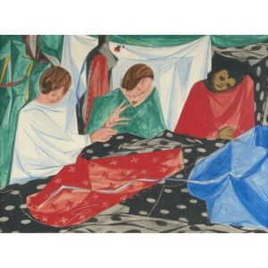 Jacob Lawrence (1917-2000) Seamstresses, 1954, Tempera on board Sold $65,000