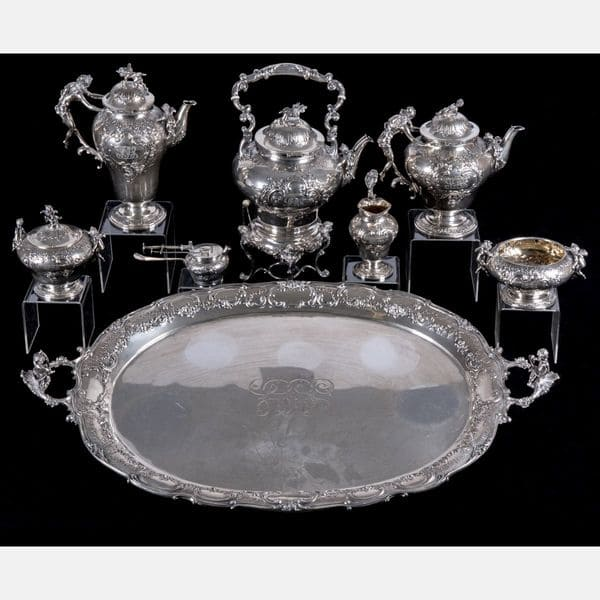 German Silver Tea and Coffee Service  J.D. Schleissner Sohne, Hanau Sold for $6,500