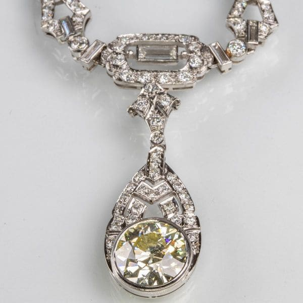 14kt. White Gold and Diamond Drop Pendant Necklace   Sold for $9,000