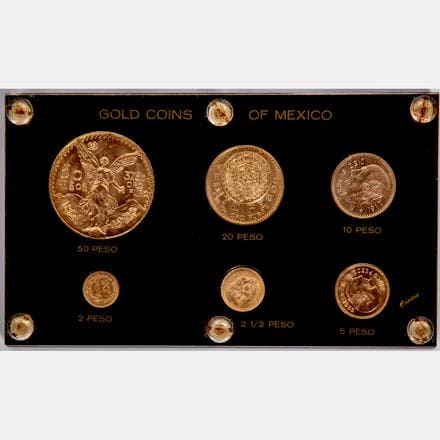 SIX GOLD COINS FROM MEXICO, 20TH CENTURY   Group of 6 Gold Coins from Mexico, Circulated, 20th Century,   Est: $3,600 - $3,800